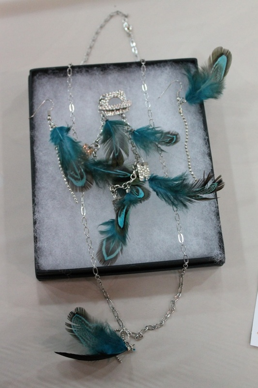 Feather Necklace, Bracelet, and Earring Set